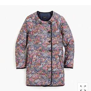 NWT Jcrew Reversible Puffer Jacket Liberty Floral